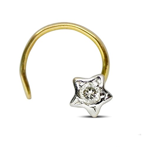 Women Natural Diamond Gold Hallmark Nose Piercing Pin Jewelry- Customize Rose, Yellow or White Gold in 14K,18K Gold Purity