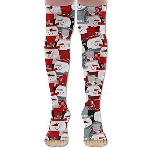 Red Hat Lady Snowman - SOCKS164 New Snowman Hats Red Fun Fashion Stylish Comfortable Knee High Socks Long Socks for Women and Men