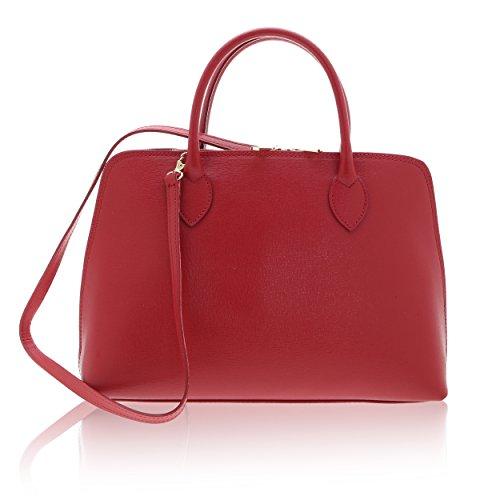 Chicca In 38 Handbag 10 A Italy Pelle Realizzata Rosso Borse Cm 28 X Made Borsa Vera Donna Da Mano 8rq8gw