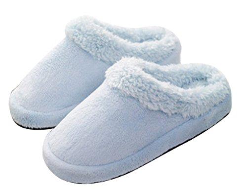 Cattior Damesbont Gevoerd Warme Pantoffels Indoor Dames Pluizige Pantoffels Blauw