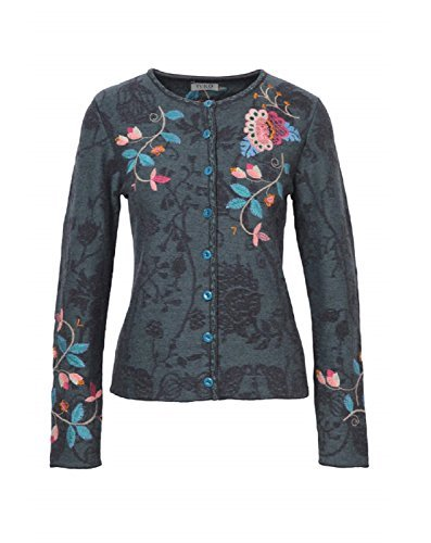Cardigan with Embroidery, Anthracite (US 6 - EUR 36) (Embroidery Pattern Wool)