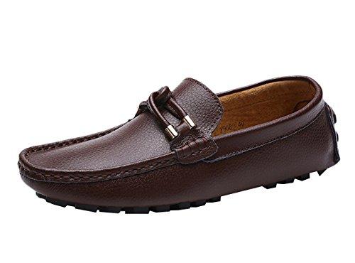 SK Studio Herren Einfarbig Leder Mokassin Schuhe Männer Freizeit Atmungsaktiv Slipper Fahren Schuhe Loafers Halbschuhe Braun