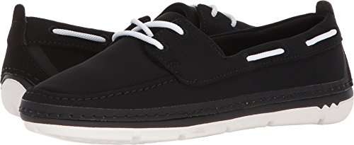 CLARKS Women's Step Maro Sand Boat Shoe, Black Textile, 9 Medium US