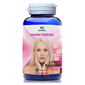 YOUNG FOREVER - Best Anti-Aging skin renewal formula by PHYTOCERAMIDES 700mg, with Supported Ingredients for Anti-Wrinkle, Moisturization, Protection & Improves Skin Tone and Elasticity-100 capsules