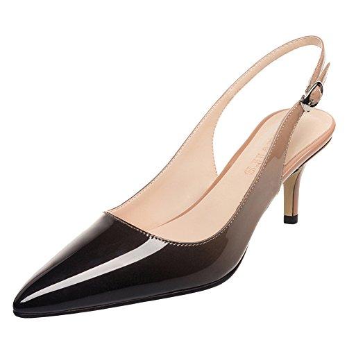 Mavirs Kitten Heels Pumps, Pointed Toe Slingback Dress Sandals Patent Low heels Wedding Party Pumps Evening Stiletto Shoes,Nude-black,8.5 B(M) US