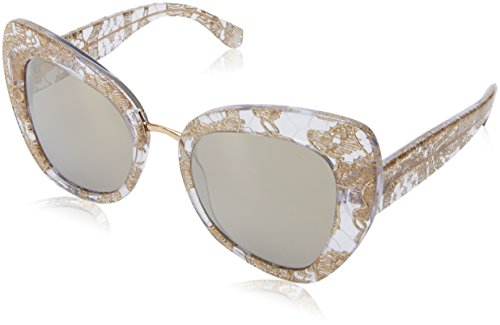 Dolce & Gabbana Women's Lace Ortensia Cat Sunglasses, Gold Lace/Brown, One ()