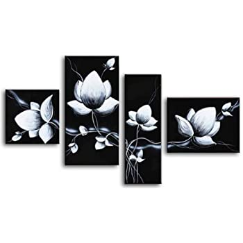 wieco art 4 piece 100 hand painted black and white flowers oil paintings on canvas