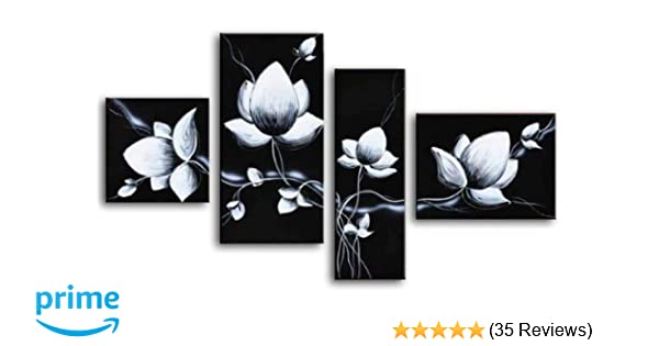 Amazon Wieco Art 4 Piece 100 Hand Painted Black And White