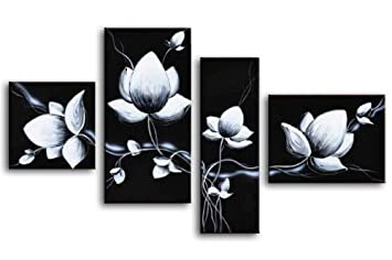 Amazon wieco art 4 piece 100 hand painted black and white amazon wieco art 4 piece 100 hand painted black and white flowers oil paintings on canvas wall art home decorations for living room bedroom modern mightylinksfo