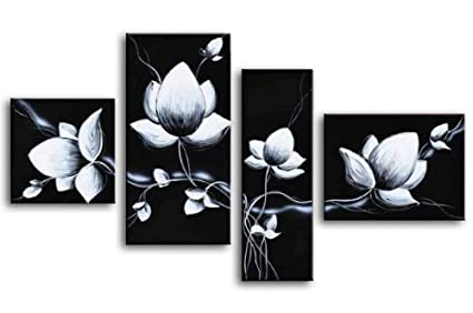 Amazon wieco art 4 piece 100 hand painted black and white wieco art 4 piece 100 hand painted black and white flowers oil paintings on canvas mightylinksfo