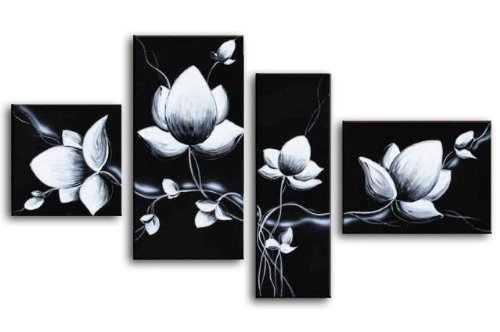 Wieco Art 4 Piece 100% Hand Painted Black and White Flowers Oil Paintings on Canvas Wall Art Home Decorations for Living Room Bedroom Modern Stretched and Framed Pretty Abstract Floral Artwork Decor