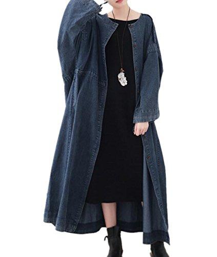 YESNO JR4 Women Fashion Long Loose Maxi Caftan Dress Casual Denim Jacket Plus Size Wide Cuff Large Skirt with Drawstring ()