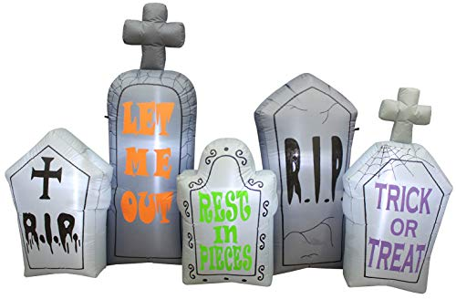 Impact Canopy Halloween Inflatable Yard Decoration, Blow Up Lighted Tombstone Graveyard, 4' Tall x 7' Wide ()