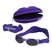 Tuga Baby/Toddler UV 400 Sunglasses w/2 Straps & Case, Purple