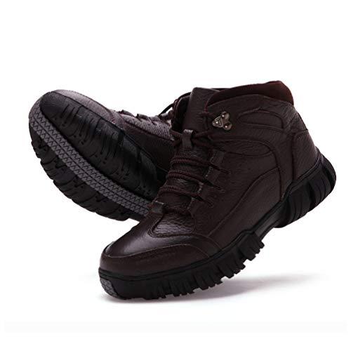Zapatos Senderismo Al Cuero Piel Hombres Libre Botas Nieve Entrenadores Confortable Aire Caliente Escalada Hombre De Los Superior Invierno Marrón Correr wqBCa6x