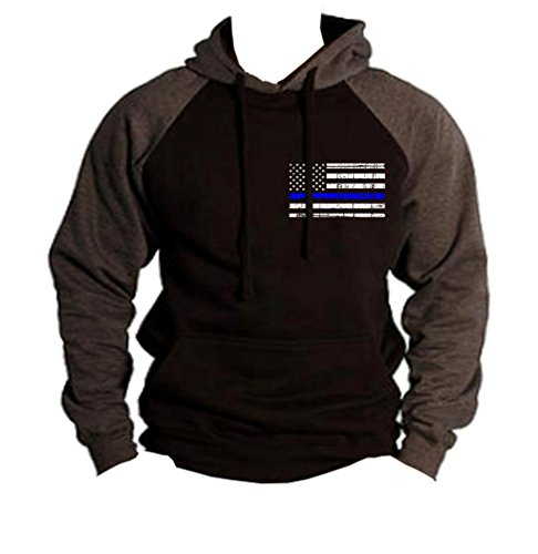 (Men's Thin Blue Line Police Flag Black/Charcoal Raglan Baseball Hoodie Sweater 3X-Large Black)