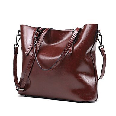 Women Bags All Season Cowhide Shoulder Bag Zipper for Wedding Event/Party Casual Formal Office & Career Black Dark Brown Wine,Wine by LTXNSB