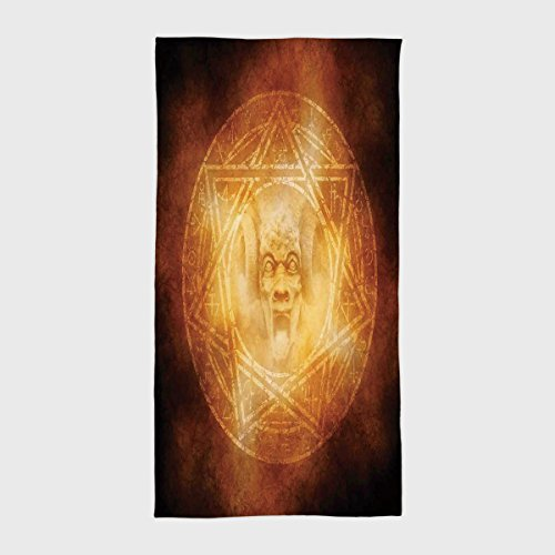 iPrint Cotton Microfiber Hotel SPA Beach Pool Bath Hand Towel,Horror House Decor,Demon Trap Symbol Logo Ceremony Creepy Ritual Fantasy Paranormal Design,Orange,for Kids, Teens, and Adults by iPrint