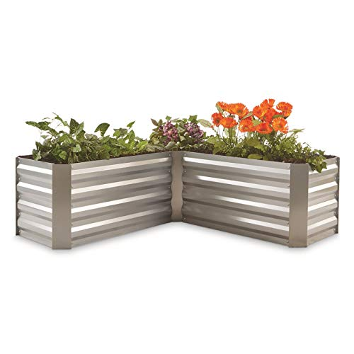 - CASTLECREEK L-Shaped Galvanized Steel Planter Box