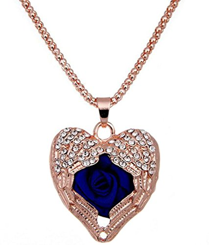 Epinki Women Stainless Steel Necklace Cubic Zirconia Heart Flower Statement Necklace Pendant Blue 80Cm