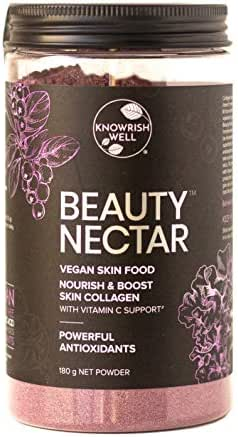 Knowrish Well Beauty Nectar Vegan Collagen Booster 180g | Plant Based Collagen Powder | Vegan Skin Food with Hyaluronic Acid, Silica and Vitamin C Support | Gluten Free | Dairy Free (32 Serves)