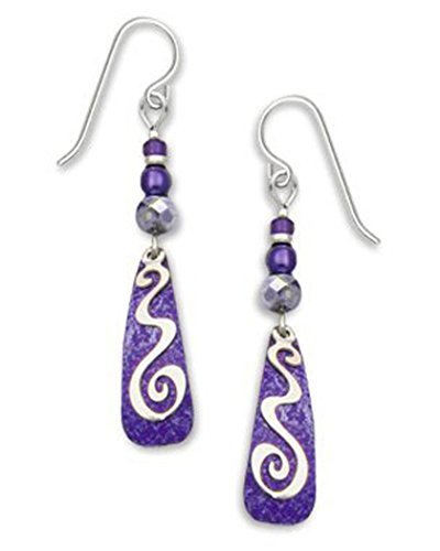 (Adajio By Sienna Sky Purple Silver-tone Squiggle Overlay Earrings 7229)