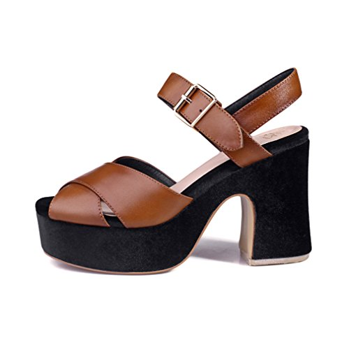 ENMAYER Womens Cow Leather Buckle Block Heel Shoes for Summer Casual Fashion Rubber Soles Sandals Brown#1 1uF4vroO97