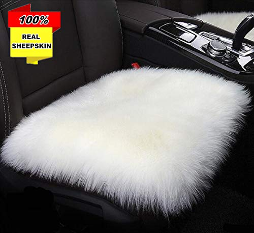 Inzoey Sheepskin Soft Car Seat Covers Non-Slip Universal Fit Durabale Seat Cushion Cover Automobile Front Seat Covers for Auto Car Office Chair White
