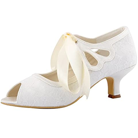 ElegantPark HP1522 Women Mary Jane Pumps Mid Heel Peep Toe Ribbon Tie Lace Bridal Wedding Shoes Ivory US - Retro Peep Toe