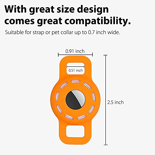 3-Pack Protective Case Compatible with Apple AirTag Dog Collar Holder, Anti-Lost Silicone AirTag Cat Puppy Collar Cover with Screen Protectors - Black & Orange & White