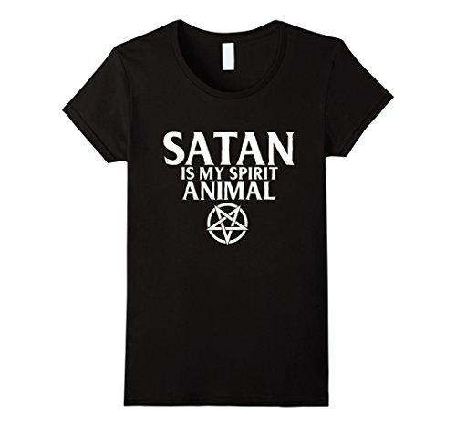 Womens Satan Is My Spirit Animal   Funny Unholy Atheist T Shirt Small Black
