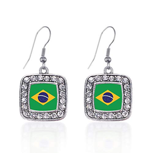 Inspired Silver - Brazilian Flag Charm Earrings for Women - Silver Square Charm French Hook Drop Earrings with Cubic Zirconia Jewelry