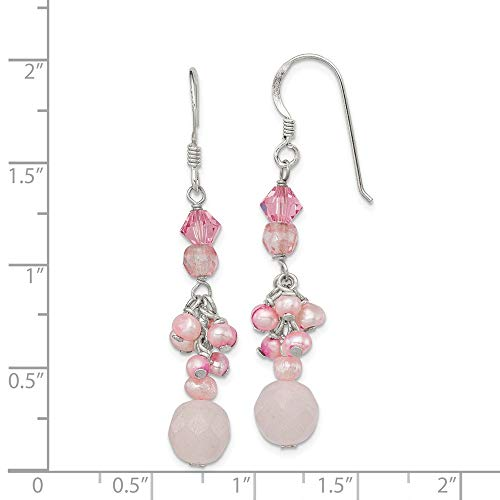 Sterling Silver Rose Cherry Quartz Pink Crystal Freshwater Cultured Pearl Earrings 1.7IN x 0.3IN