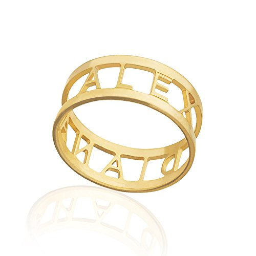 Name Ring - Initial Engraved Personalized Ring Custom Rings for Women Personalized Jewelry (Gold-Filled, 8) -