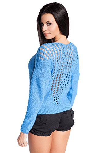 FOBYA - Suéter top de punto jersey pulóver croché en espalda - para mujer - 488z Azul