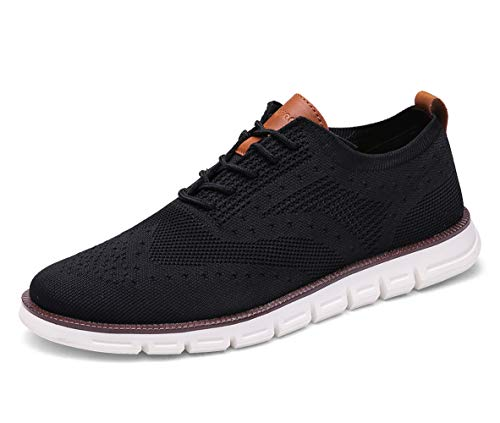 XIPAI Mens Wingtip Oxford Shoes Lace Up Fashion Sneakers Casual Walking Shoes Black-02 US 10