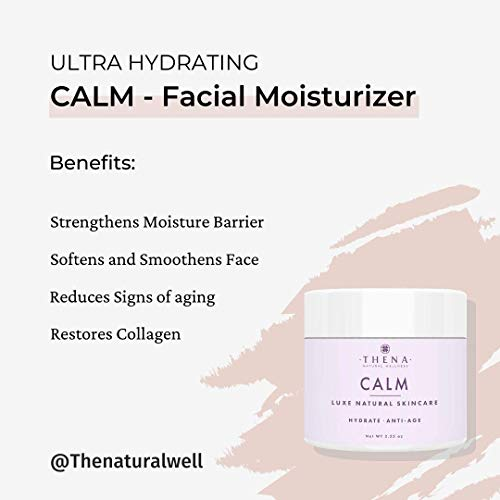 THENA CALM Face Moisturizer Cream Organic & Natural Skin Care, Ultra Hydrating With Hyaluronic Acid & Lavender Oil Plant-based Skincare Anti aging Face Cream Dry Skin Facial Moisturizer For Women Men
