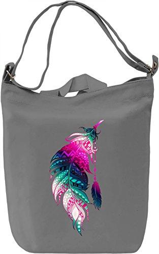 Colourful Feather Borsa Giornaliera Canvas Canvas Day Bag| 100% Premium Cotton Canvas| DTG Printing|