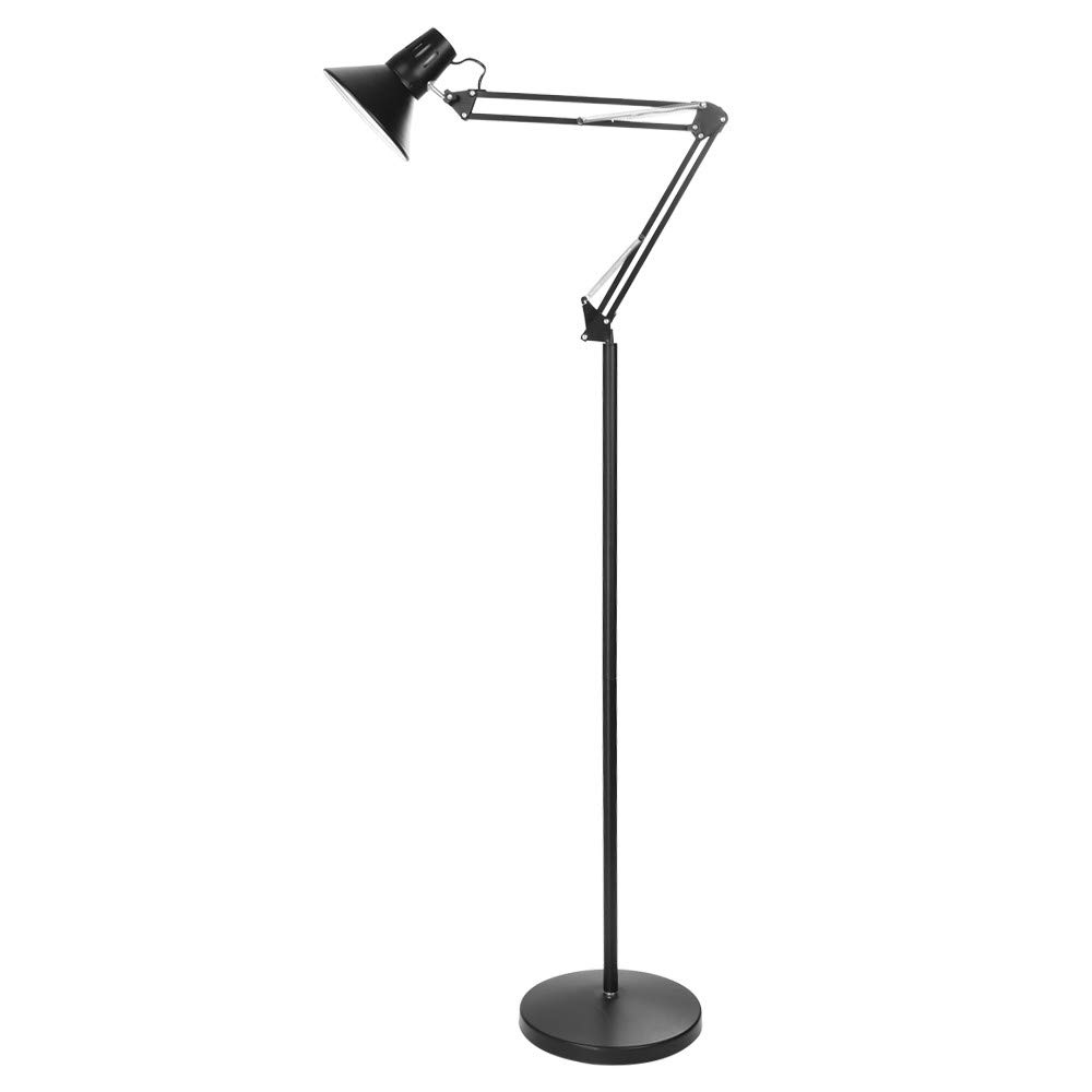 WONdere Modern Floor Lamp - Tall Standing Lamp with 360° Adjustable Swing Arm, Industrial Reading Lamps for Living Room, Bedroom, Office, College Dorm - Black (Without Bulb)