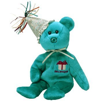 TY~BIRTHDAY BEARS 1 X TY December Birthday Bear with Hat Beanie Baby [Toy]