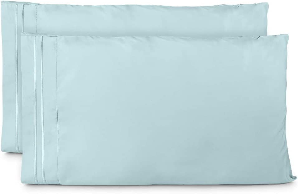 20x 30 Grey Blue 120GSM Pillowcases Queen Size Wrinkle Resistant Stitch Pillowcase with Envelope Closure KI/&KA HOME 2 Pack Embroidered Pillowcase
