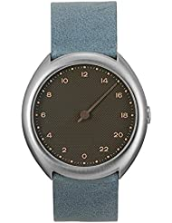 slow O 10 - Swiss Made one-hand 24 hour watch - Silver with light blue leather band