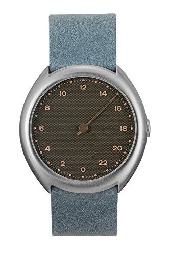(slow O 10 - Swiss Made one-hand 24 hour watch - Silver with light blue leather band)