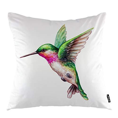 oFloral Bird Throw Pillow Cover Bird Animal Hummingbird Colorful Feather Decorative Square Pillow Case 18