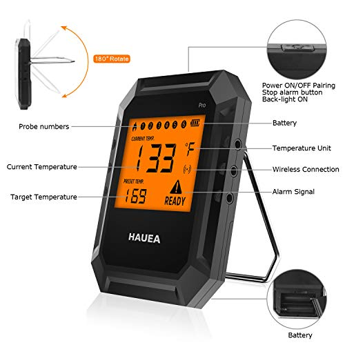 HAUEA Meat Thermometer Bluetooth, BBQ Thermometer Smart Cooking Bluetooth Thermometer with 6 Probes for Smoker Grilling Oven Kitchen, Support iOS & Android, FDA approved (Carrying Case Included)
