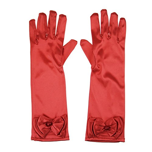 L-Peach Kids Satin Bowknot Formal Gloves Girls Princess Costume Gloves for Bride Party Halloween Cosplay (Halloween Red Glove)