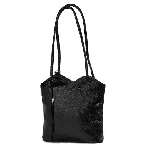 ital elegante Glatt Leder Schultertasche Rucksack 2in1 Handtasche schwarz , 27-32x30x9 cm (B x H x T)