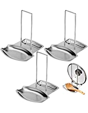 Lawei 3 Pack Lid and Spoon Rest - Pot Lid Holders Stainless Steel Pan Lid Organizer for Pots Pans Spoons