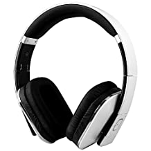 August EP650-Bluetooth Wireless Stereo Headphones - Over Ear Headphones with 3.5mm Wired Audio In-Leather Cushioned-Rechargeable Battery-NFC Tap To Connect and built-in Microphone-Compatible with Mobile Phones, iPad, Laptops, Tablets, etc. (White)