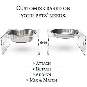 PetFusion Elevated Dog Bowls, Cat Bowls. [Attach, Detach, Add On, Mix Match Short 4″ & Tall 8″]. Buy Singles or Pairs